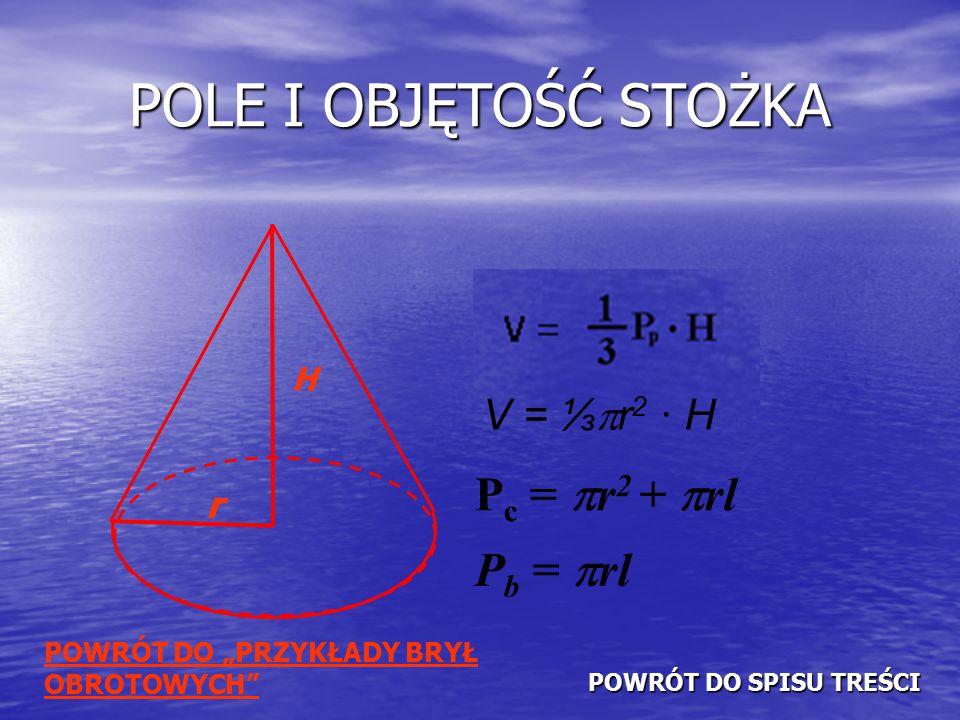 """POLE I OBJĘTOŚĆ STOŻKA H r V = ⅓  r 2 · H P c =  r 2 +  rl P b =  rl POWRÓT DO """"PRZYKŁADY BRYŁ OBROTOWYCH POWRÓT DO SPISU TREŚCI POWRÓT DO SPISU TREŚCI"""