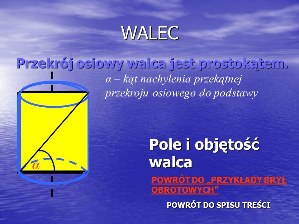 WALEC Przekrój osiowy walca jest prostokątem.