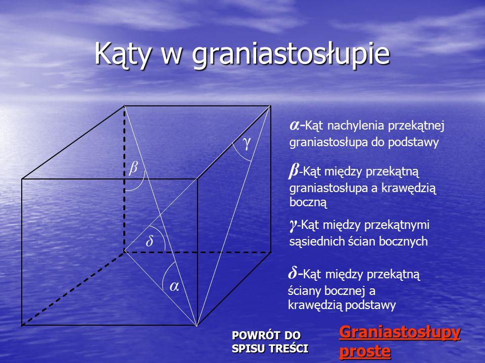 Graniastosłup prosty Graniastosłupem prostym nazywamy graniastosłup, którego krawędzie boczne są prostopadłe do podstaw.