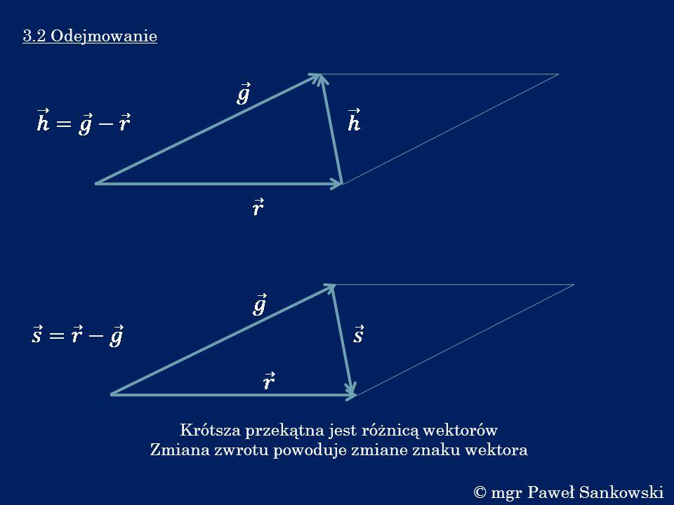 3.3 Mnożenie skalarne Mnożenie skalarne symbolizujemy kropką pomiędzy wektorami.