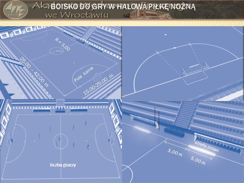 BOISKO DO GRY W HALOWA PIŁKĘ NOŻNĄ 15.00-25.00 m 25.00 – 42.00 m Pole karne R = 3.00 5.00 m 3.00 m strefa zmian liczba graczy