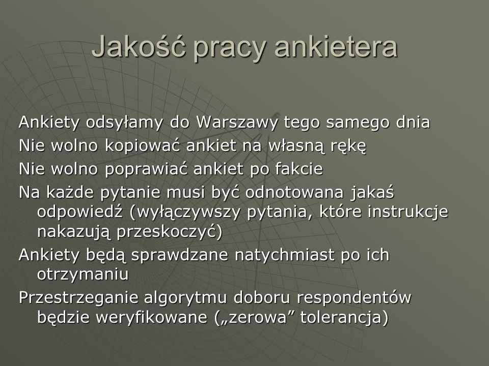 """Jakość pracy ankietera Ankiety odsyłamy do Warszawy tego samego dnia Nie wolno kopiować ankiet na własną rękę Nie wolno poprawiać ankiet po fakcie Na każde pytanie musi być odnotowana jakaś odpowiedź (wyłączywszy pytania, które instrukcje nakazują przeskoczyć) Ankiety będą sprawdzane natychmiast po ich otrzymaniu Przestrzeganie algorytmu doboru respondentów będzie weryfikowane (""""zerowa tolerancja)"""