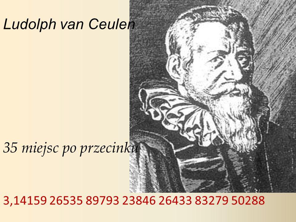 Ludolph van Ceulen 35 miejsc po przecinku 3,14159 26535 89793 23846 26433 83279 50288