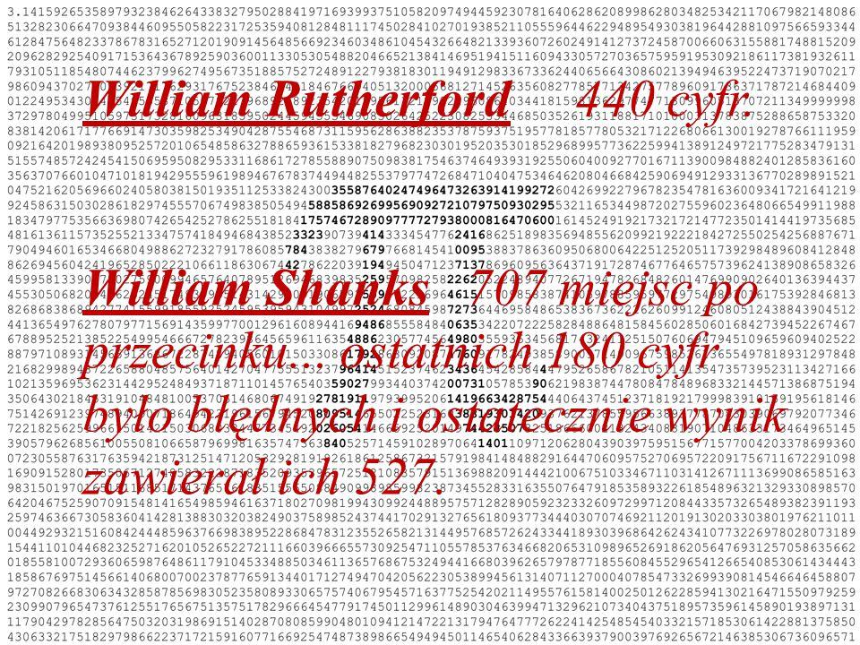 William Rutherford 440 cyfr.William Shanks 707 miejsc po przecinku...