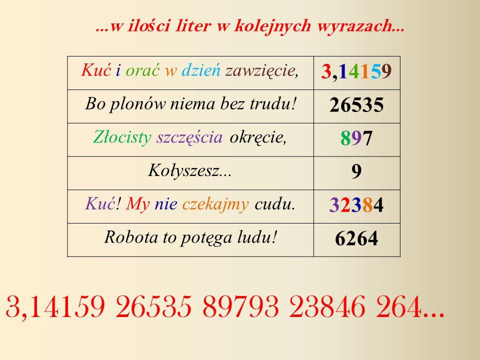 Kuć i orać w dzień zawzięcie, 3,141593,14159 Bo plonów niema bez trudu.