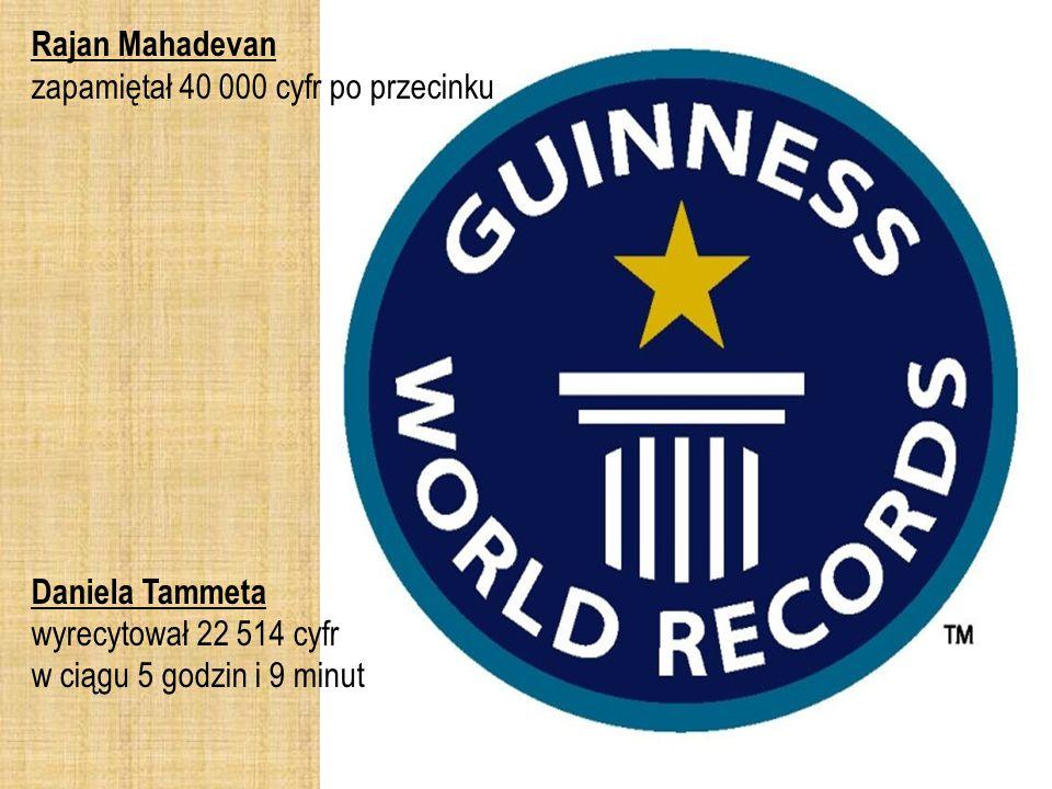 Rajan Mahadevan zapamiętał 40 000 cyfr po przecinku Daniela Tammeta wyrecytował 22 514 cyfr w ciągu 5 godzin i 9 minut