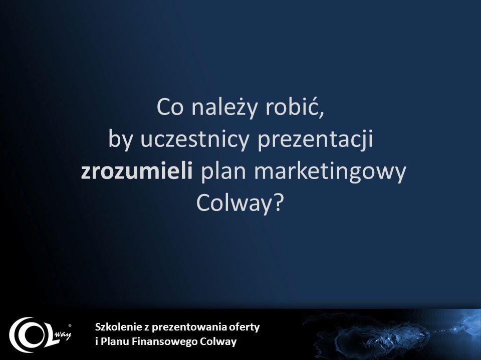 Szkolenie z prezentowania oferty i Planu Finansowego Colway Co należy robić, by uczestnicy prezentacji zrozumieli plan marketingowy Colway?