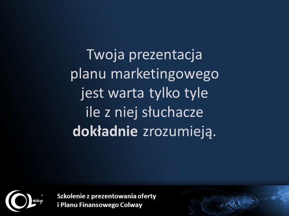 Szkolenie z prezentowania oferty i Planu Finansowego Colway Twoja prezentacja planu marketingowego jest warta tylko tyle ile z niej słuchacze dokładni