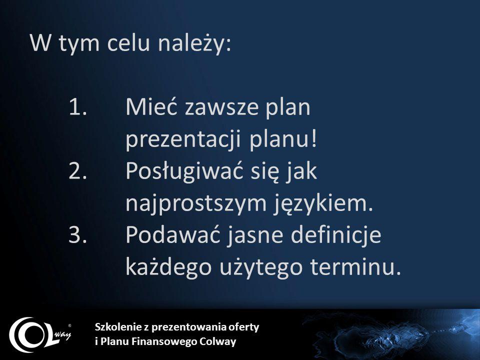 Szkolenie z prezentowania oferty i Planu Finansowego Colway W tym celu należy: 1.Mieć zawsze plan prezentacji planu! 2.Posługiwać się jak najprostszym