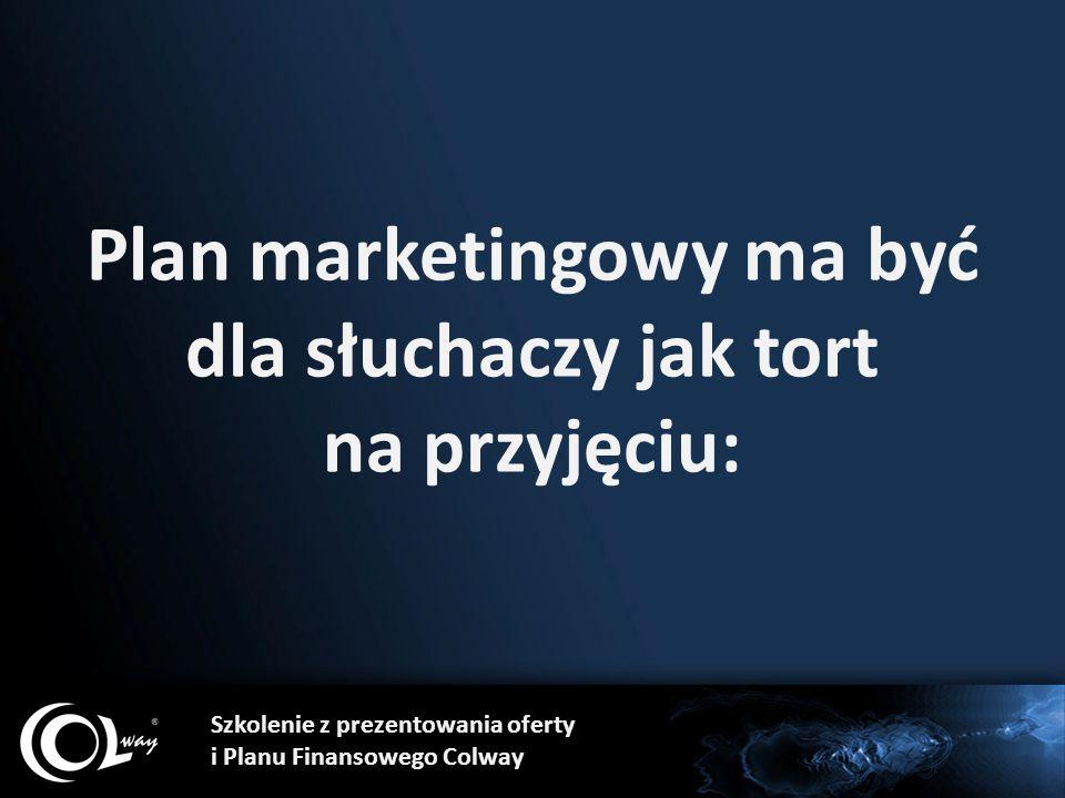 Plan marketingowy ma być dla słuchaczy jak tort na przyjęciu: Szkolenie z prezentowania oferty i Planu Finansowego Colway
