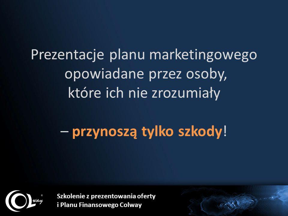 Szkolenie z prezentowania oferty i Planu Finansowego Colway Prezentacje planu marketingowego opowiadane przez osoby, które ich nie zrozumiały – przyno