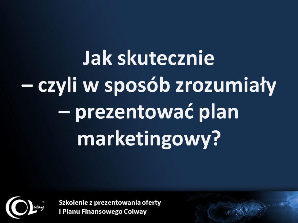 Jak skutecznie – czyli w sposób zrozumiały – prezentować plan marketingowy? Szkolenie z prezentowania oferty i Planu Finansowego Colway