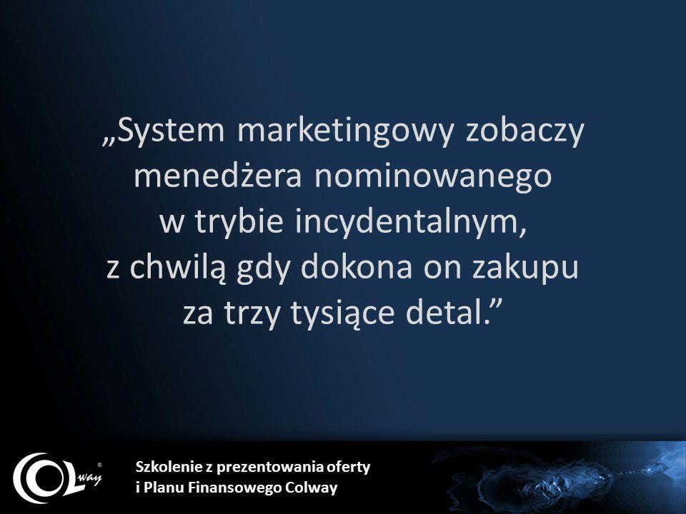 """Szkolenie z prezentowania oferty i Planu Finansowego Colway """"System marketingowy zobaczy menedżera nominowanego w trybie incydentalnym, z chwilą gdy d"""