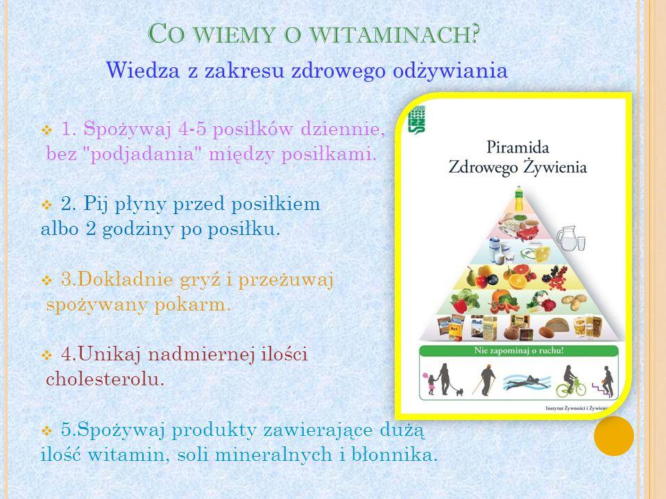 C O WIEMY O WITAMINACH . 1. Spożywaj 4-5 posiłków dziennie, bez podjadania między posiłkami.