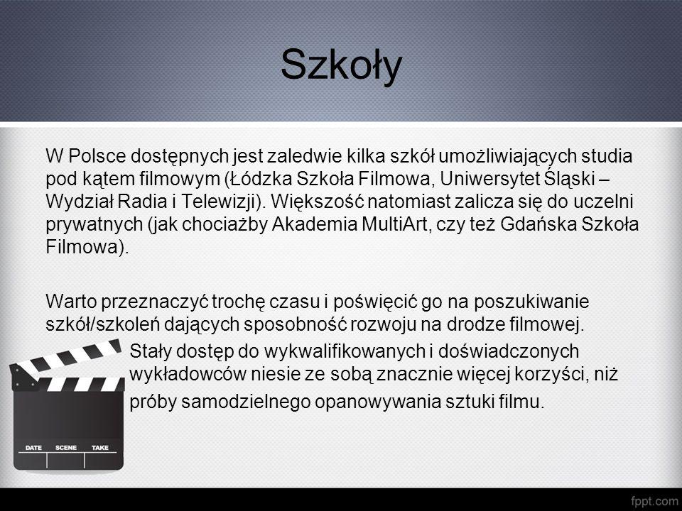 Szkoły W Polsce dostępnych jest zaledwie kilka szkół umożliwiających studia pod kątem filmowym (Łódzka Szkoła Filmowa, Uniwersytet Śląski – Wydział Ra