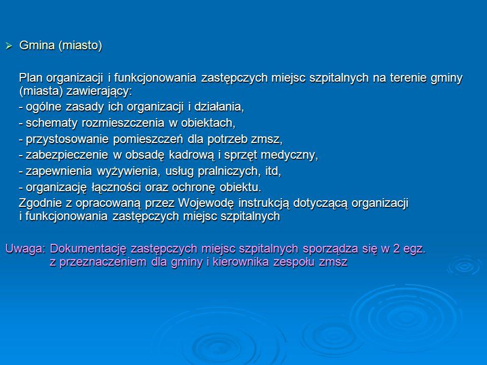  Gmina (miasto) Plan organizacji i funkcjonowania zastępczych miejsc szpitalnych na terenie gminy (miasta) zawierający: Plan organizacji i funkcjonowania zastępczych miejsc szpitalnych na terenie gminy (miasta) zawierający: - ogólne zasady ich organizacji i działania, - ogólne zasady ich organizacji i działania, - schematy rozmieszczenia w obiektach, - schematy rozmieszczenia w obiektach, - przystosowanie pomieszczeń dla potrzeb zmsz, - przystosowanie pomieszczeń dla potrzeb zmsz, - zabezpieczenie w obsadę kadrową i sprzęt medyczny, - zabezpieczenie w obsadę kadrową i sprzęt medyczny, - zapewnienia wyżywienia, usług pralniczych, itd, - zapewnienia wyżywienia, usług pralniczych, itd, - organizację łączności oraz ochronę obiektu.