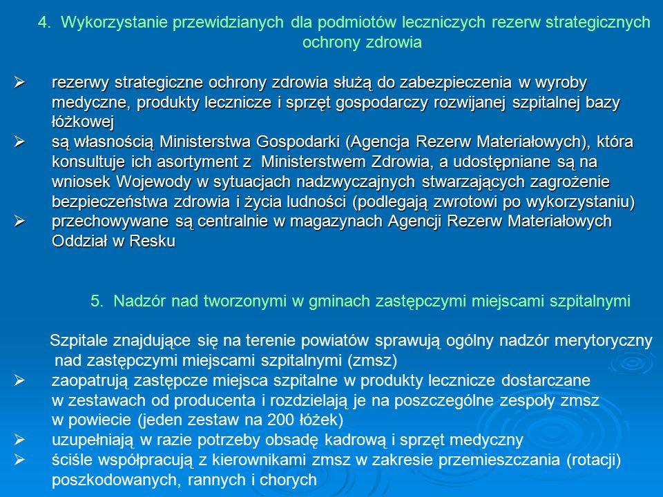 4. Wykorzystanie przewidzianych dla podmiotów leczniczych rezerw strategicznych ochrony zdrowia  rezerwy strategiczne ochrony zdrowia służą do zabezp
