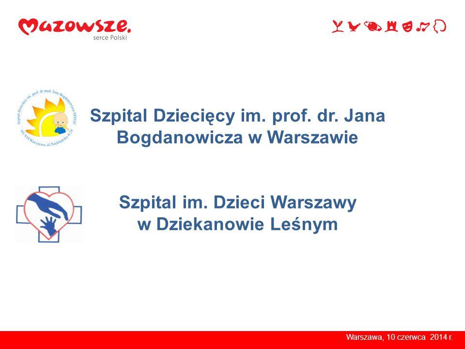 Szpital Dziecięcy im. prof. dr. Jana Bogdanowicza w Warszawie Szpital im. Dzieci Warszawy w Dziekanowie Leśnym Warszawa, 10 czerwca 2014 r.