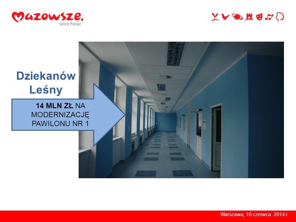 Warszawa, 10 czerwca 2014 r. 14 MLN ZŁ NA MODERNIZACJĘ PAWILONU NR 1 Dziekanów Leśny