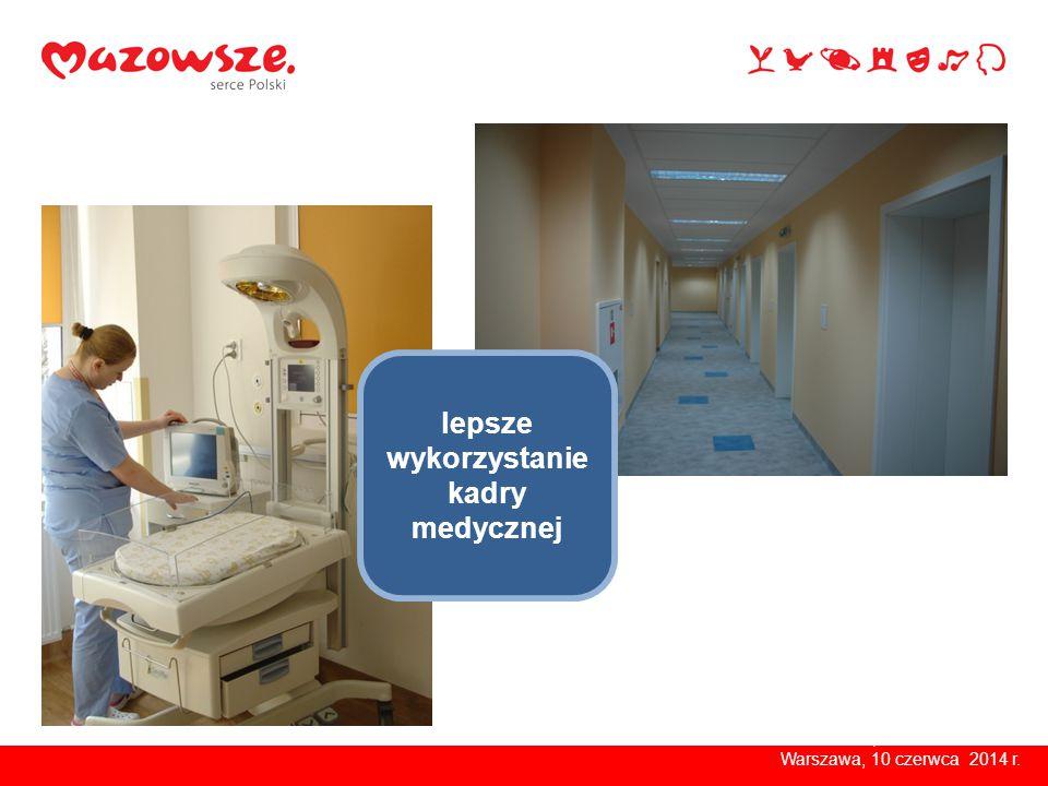 Warszawa, kwiecień 2014 r. lepsze wykorzystanie kadry medycznej Warszawa, 10 czerwca 2014 r.