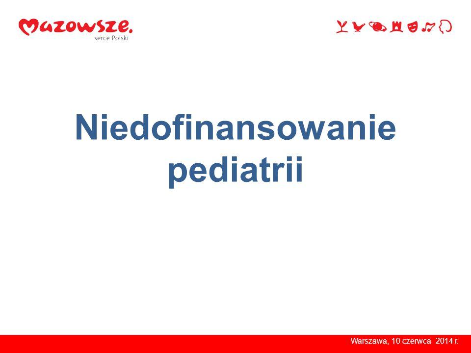 Niedofinansowanie pediatrii Warszawa, 10 czerwca 2014 r.