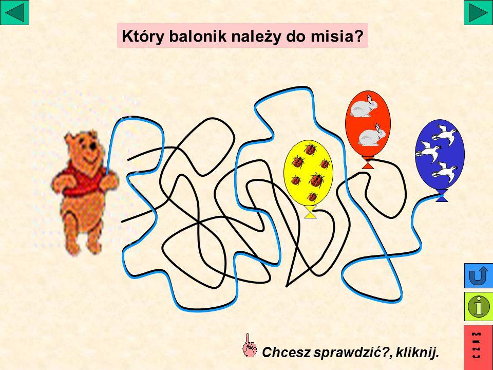 Który balonik należy do misia? Chcesz sprawdzić?, kliknij.
