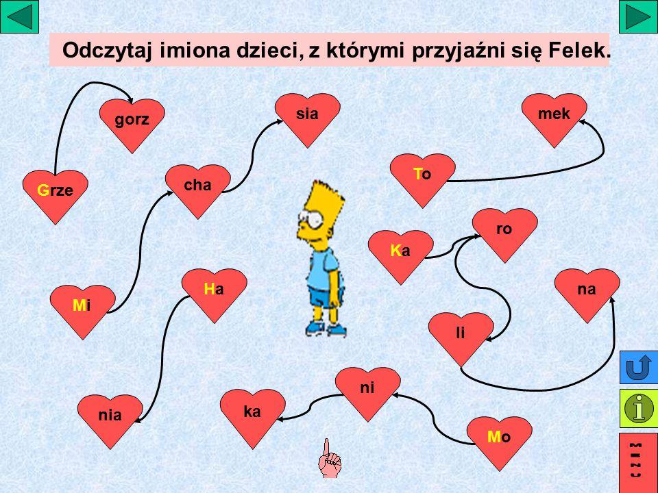 Odczytaj imiona dzieci, z którymi przyjaźni się Felek.