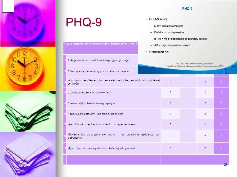 Przesiewowa diagnostyka depresji w wieku podeszłym PHQ-9 PHQ-9 GDS GDS Pamiętaj o dużej częstości depresji psychotycznej Pamiętaj o dużej częstości de