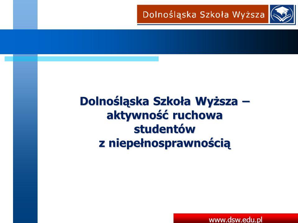 www.dsw.edu.pl Dolnośląska Szkoła Wyższa – aktywność ruchowa studentów z niepełnosprawnością