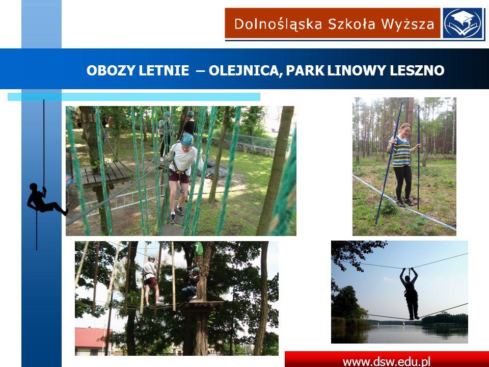 www.dsw.edu.pl OBOZY LETNIE – OLEJNICA, PARK LINOWY LESZNO