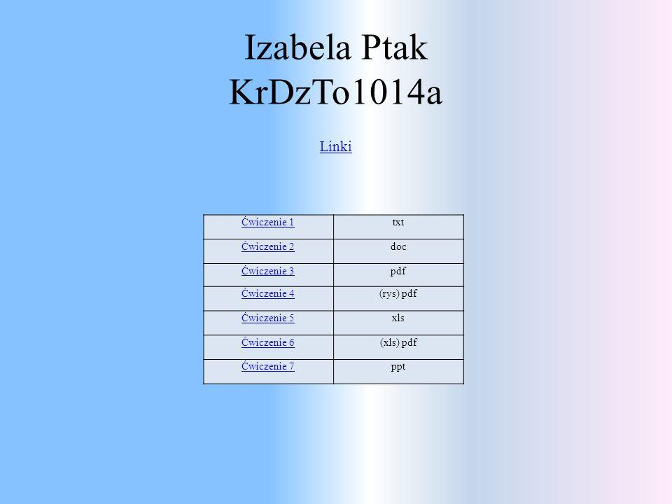 Izabela Ptak KrDzTo1014a Linki Ćwiczenie 1txt Ćwiczenie 2doc Ćwiczenie 3pdf Ćwiczenie 4(rys) pdf Ćwiczenie 5xls Ćwiczenie 6(xls) pdf Ćwiczenie 7ppt