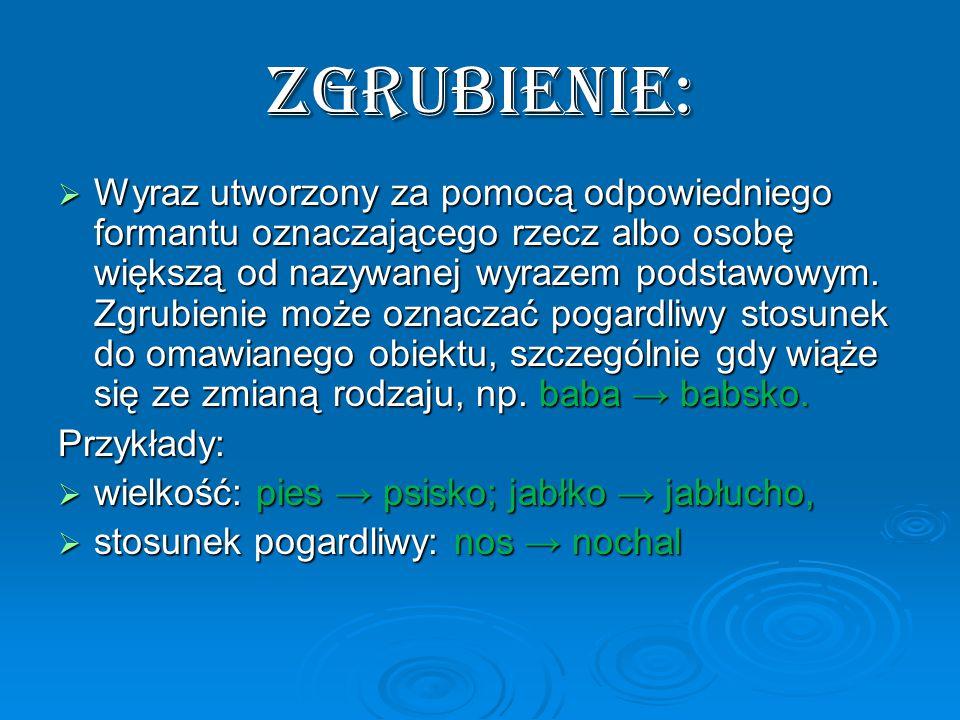 ZGRUBIENIE:  Wyraz utworzony za pomocą odpowiedniego formantu oznaczającego rzecz albo osobę większą od nazywanej wyrazem podstawowym.