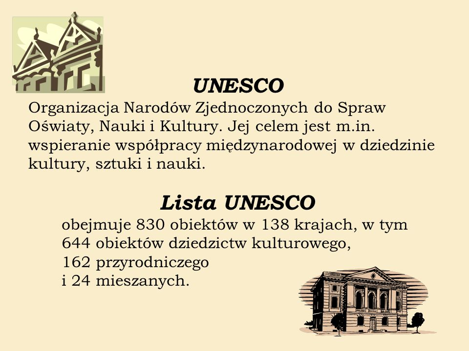 Lista UNESCO obejmuje 830 obiektów w 138 krajach, w tym 644 obiektów dziedzictw kulturowego, 162 przyrodniczego i 24 mieszanych. UNESCO Organizacja Na