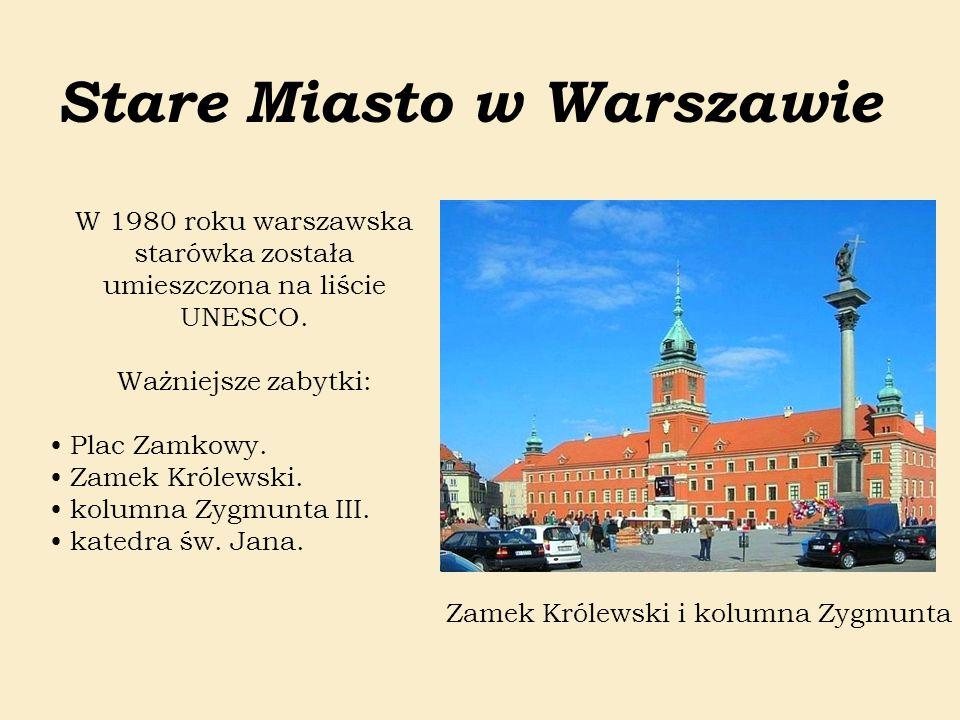 Stare Miasto w Warszawie W 1980 roku warszawska starówka została umieszczona na liście UNESCO. Ważniejsze zabytki: Plac Zamkowy. Zamek Królewski. kolu