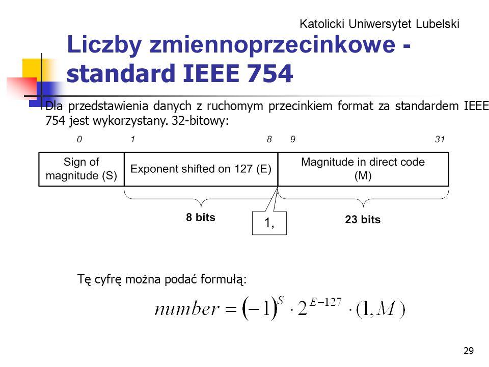 Katolicki Uniwersytet Lubelski 29 Liczby zmiennoprzecinkowe - standard IEEE 754 Dla przedstawienia danych z ruchomym przecinkiem format za standardem IEEE 754 jest wykorzystany.