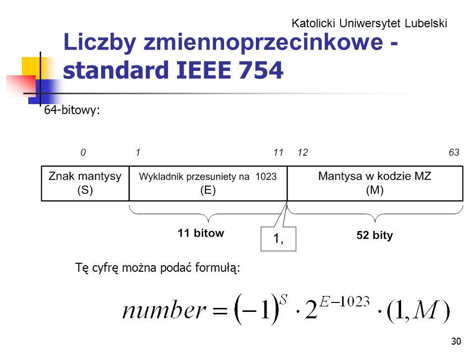 Katolicki Uniwersytet Lubelski 30 Liczby zmiennoprzecinkowe - standard IEEE 754 64-bitowy: Tę cyfrę można podać formułą: