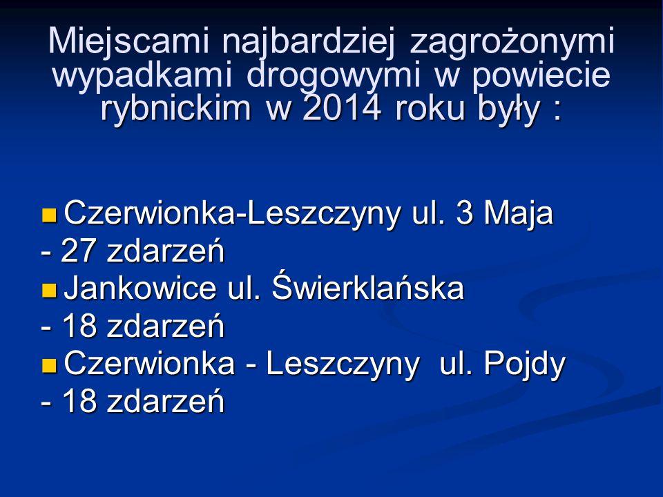 rybnickim w 2014 roku były : Miejscami najbardziej zagrożonymi wypadkami drogowymi w powiecie rybnickim w 2014 roku były : Czerwionka-Leszczyny ul. 3