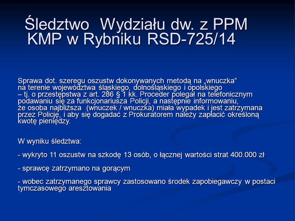 """Śledztwo Wydziału dw. z PPM KMP w Rybniku RSD-725/14 Sprawa dot. szeregu oszustw dokonywanych metodą na """"wnuczka"""" na terenie województwa śląskiego, do"""