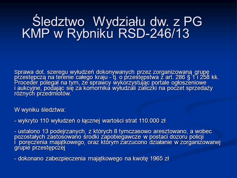 Śledztwo Wydziału dw. z PG KMP w Rybniku RSD-246/13 S prawa dot. szeregu wyłudzeń dokonywanych przez zorganizowaną grupę przestępczą na terenie całego