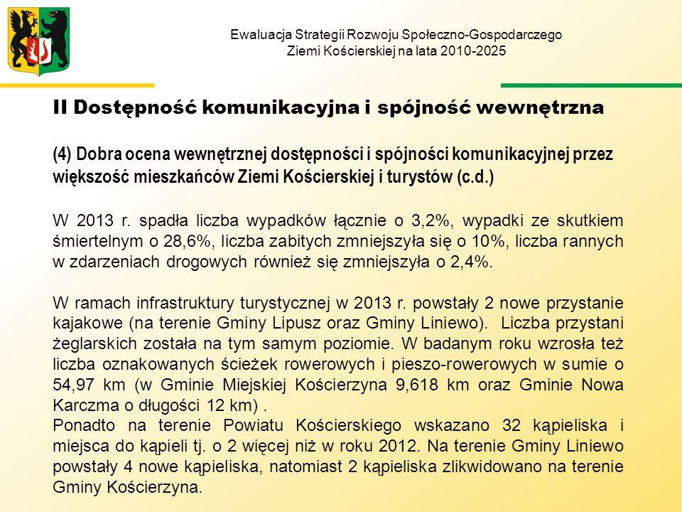 Ewaluacja Strategii Rozwoju Społeczno-Gospodarczego Ziemi Kościerskiej na lata 2010-2025 II Dostępność komunikacyjna i spójność wewnętrzna (4) Dobra ocena wewnętrznej dostępności i spójności komunikacyjnej przez większość mieszkańców Ziemi Kościerskiej i turystów (c.d.) W 2013 r.
