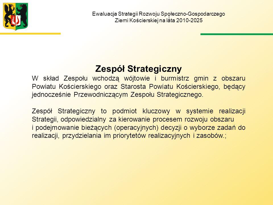 Ewaluacja Strategii Rozwoju Społeczno-Gospodarczego Ziemi Kościerskiej na lata 2010-2025 Monitoring realizacji Strategii: 1.w zakresie ilościowym polega na corocznym sporządzaniu przez Koordynatora w III kwartale każdego roku Raportu z monitoringu, który przedstawia się Zespołowi Monitorującemu, który na tej podstawie (o ile uzna to za niezbędne) przygotowuje rekomendacje dla Zarządu Powiatu o potrzebie dokonania zmian w treści Strategii.