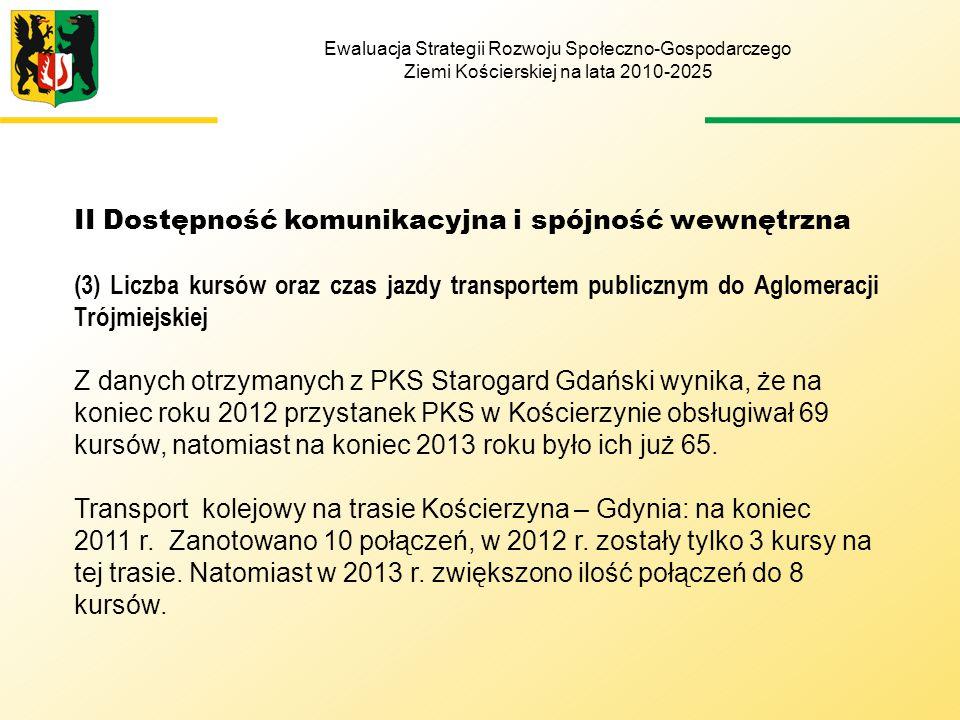 Ewaluacja Strategii Rozwoju Społeczno-Gospodarczego Ziemi Kościerskiej na lata 2010-2025 II Dostępność komunikacyjna i spójność wewnętrzna (3) Liczba kursów oraz czas jazdy transportem publicznym do Aglomeracji Trójmiejskiej Z danych otrzymanych z PKS Starogard Gdański wynika, że na koniec roku 2012 przystanek PKS w Kościerzynie obsługiwał 69 kursów, natomiast na koniec 2013 roku było ich już 65.
