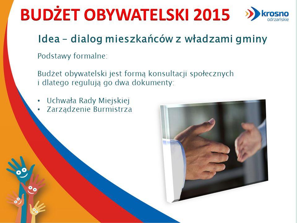 Idea – dialog mieszkańców z władzami gminy Podstawy formalne: Budżet obywatelski jest formą konsultacji społecznych i dlatego regulują go dwa dokumenty: Uchwała Rady Miejskiej Zarządzenie Burmistrza