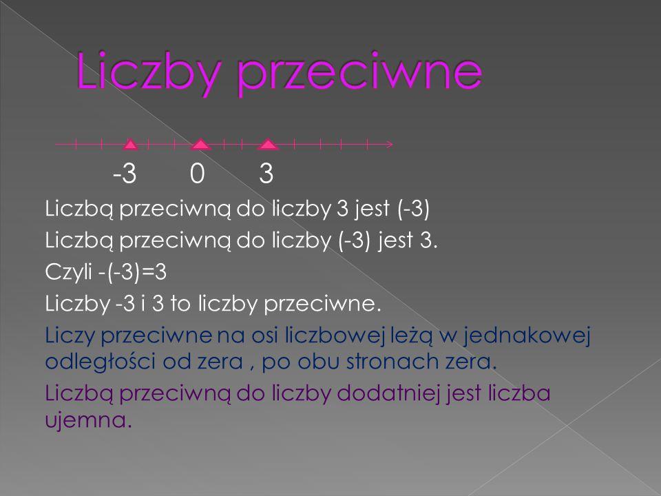 -3 0 3 Liczbą przeciwną do liczby 3 jest (-3) Liczbą przeciwną do liczby (-3) jest 3.