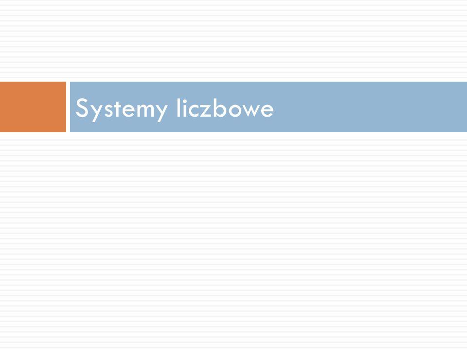 Systemy liczbowe możemy podzielić na:  pozycyjne  niepozycyjne (addytywne).