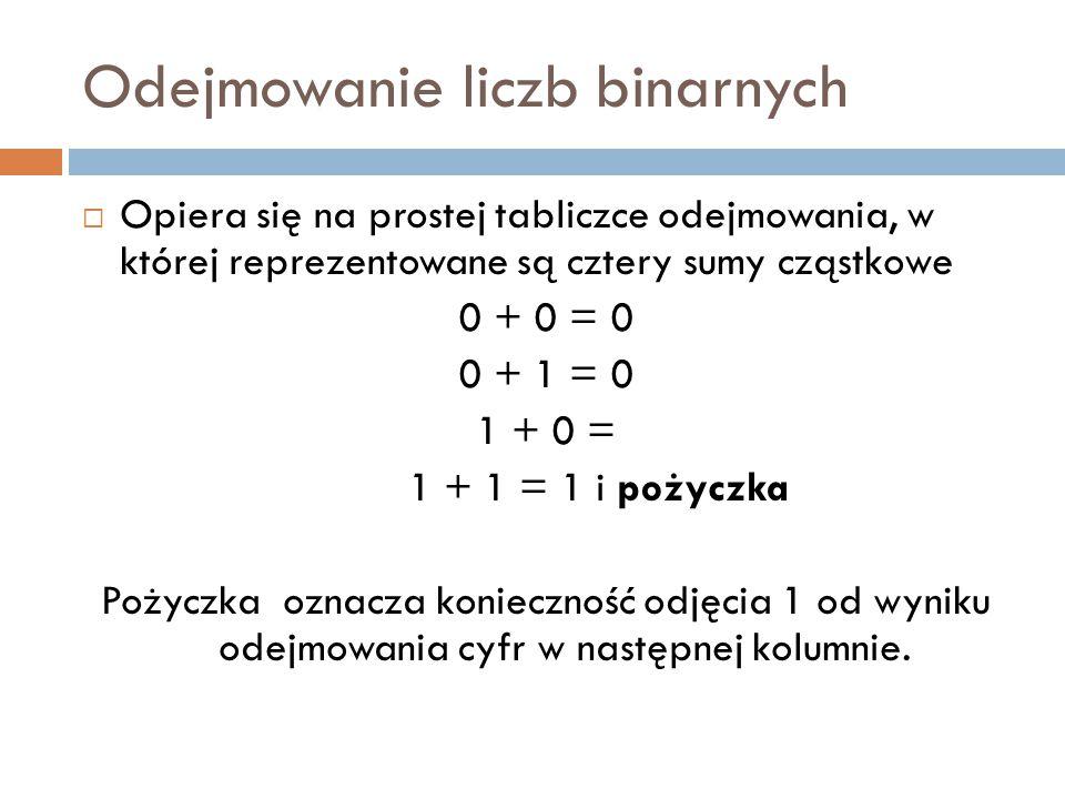 Odejmowanie liczb binarnych  Opiera się na prostej tabliczce odejmowania, w której reprezentowane są cztery sumy cząstkowe 0 + 0 = 0 0 + 1 = 0 1 + 0