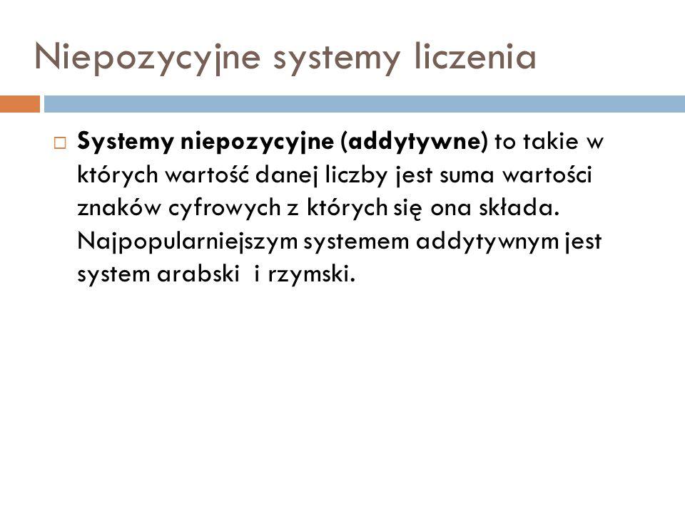 Niepozycyjne systemy liczenia  Systemy niepozycyjne (addytywne) to takie w których wartość danej liczby jest suma wartości znaków cyfrowych z których