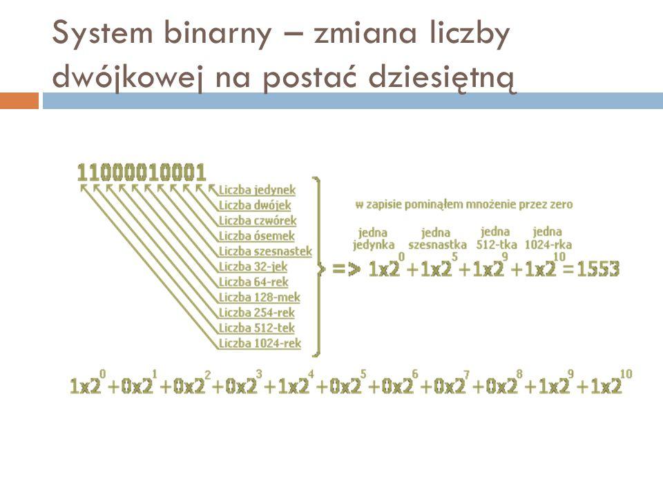 Dodawania liczb binarnych  Opiera się na prostej tabliczce dodawania, w której reprezentowane są cztery sumy cząstkowe: 0 + 0 = 0 0 + 1 = 1 1 + 0 = 1 1 + 1 = 0 i 1 dalej