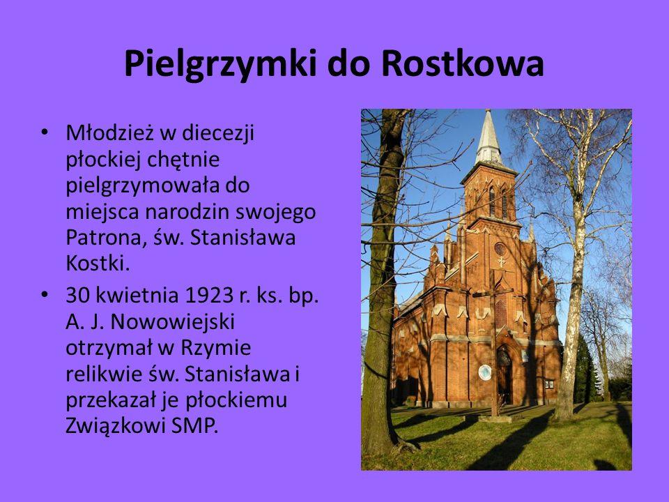 Pielgrzymki do Rostkowa Młodzież w diecezji płockiej chętnie pielgrzymowała do miejsca narodzin swojego Patrona, św. Stanisława Kostki. 30 kwietnia 19