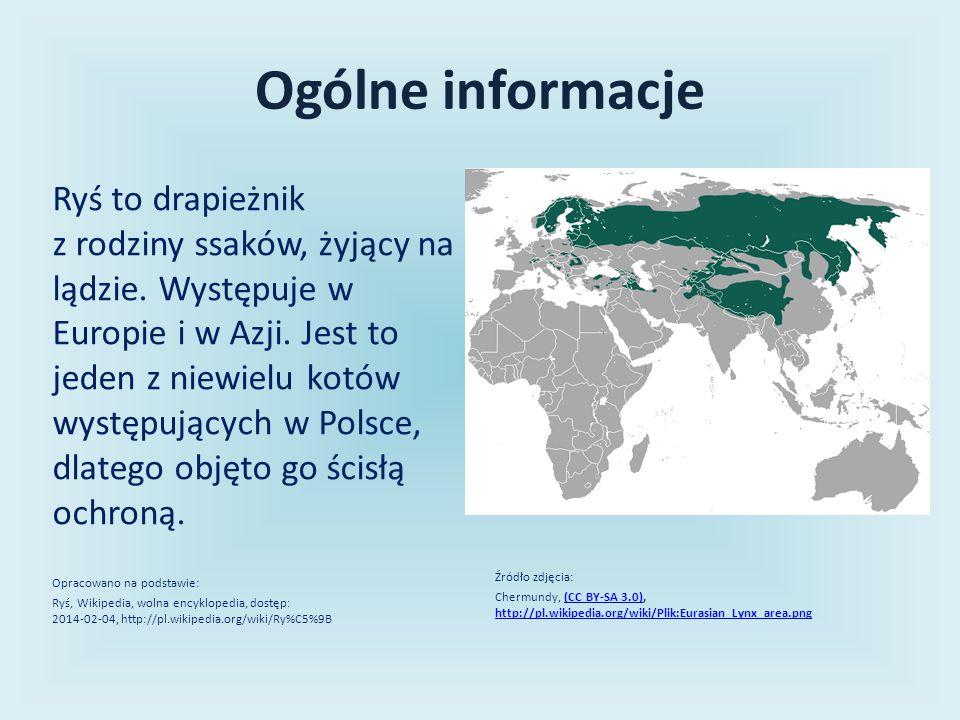 Ogólne informacje Ryś to drapieżnik z rodziny ssaków, żyjący na lądzie. Występuje w Europie i w Azji. Jest to jeden z niewielu kotów występujących w P